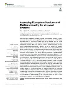 Assessing Ecosystem Services and