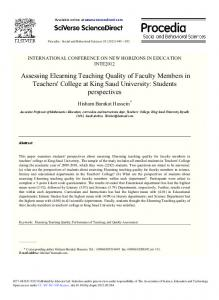 Assessing Elearning Teaching Quality of Faculty ...