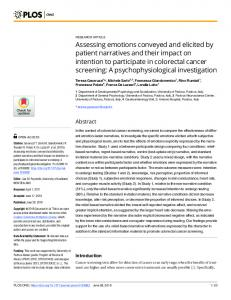 Assessing emotions conveyed and elicited by patient ... - PLOS