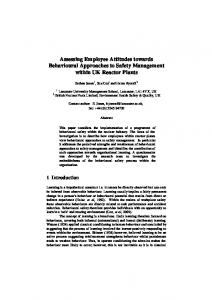 Assessing Employee Attitudes towards Behavioural Approaches to ...