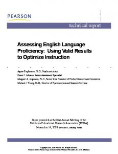 Assessing English Language Proficiency: Using Valid ... - Pearson