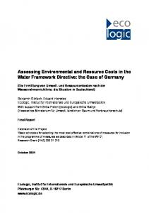 Assessing Environmental and Resource Costs in ... - Ecologic Institute