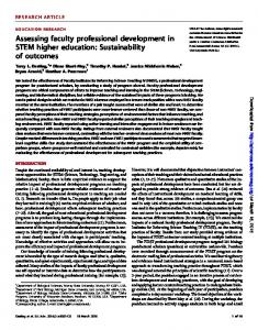 Assessing faculty professional development in STEM higher education ...