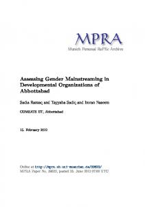Assessing Gender Mainstreaming in Developmental Organizations of
