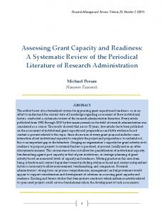 Assessing Grant Capacity and Readiness: A Systematic Review ... - Eric