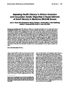 Assessing Health Literacy in African American and ... - CiteSeerX