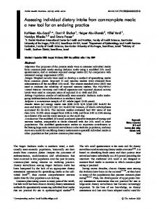 Assessing individual dietary intake from common-plate meals: a new ...