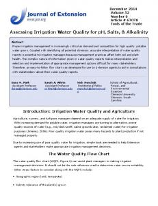 Assessing Irrigation Water Quality for pH, Salts ...