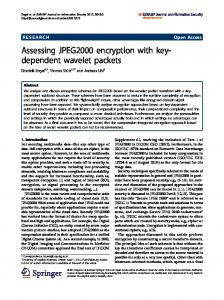 Assessing JPEG2000 encryption with key- dependent wavelet ... - Core