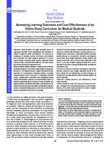 Assessing Learning outcomes and Cost effectiveness of an online ...