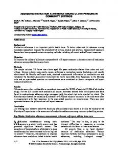 Assessing Medication Adherence among Older Persons in Community