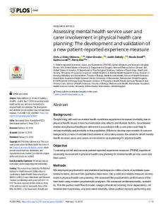 Assessing mental health service user and carer involvement in ... - Plos