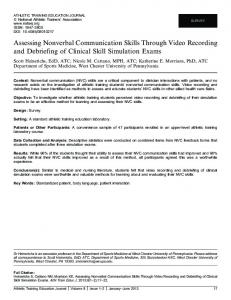 Assessing Nonverbal Communication Skills Through Video Recording ...