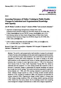 Assessing Outcomes of Online Training in Public Health: Changes in ...