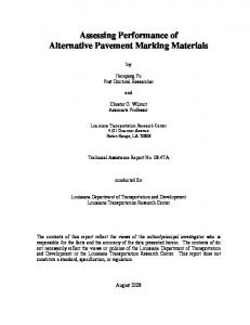 Assessing Performance of Alternative Pavement Marking Materials