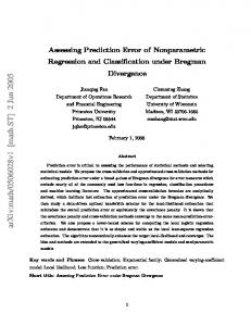 Assessing Prediction Error of Nonparametric Regression and ...