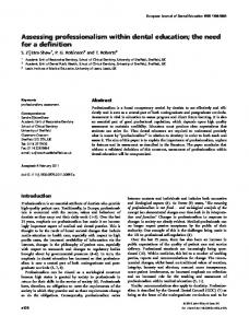 Assessing professionalism within dental education - Wiley Online Library