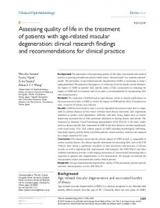 Assessing quality of life in the treatment of patients ... - BioMedSearch