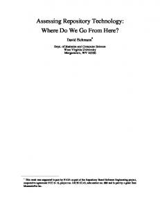 Assessing Repository Technology: Where Do We Go From Here?