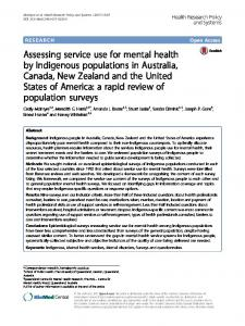 Assessing service use for mental health by Indigenous populations in ...
