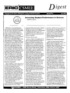 Assessing student performance in science