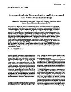 Assessing Students' Communication and Interpersonal ... - CiteSeerX