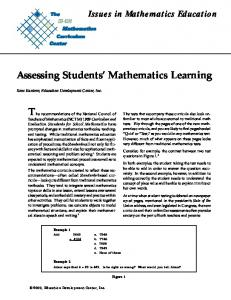 Assessing Students' Mathematics Learning T - The K-12 Mathematics ...