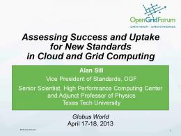 Assessing Success and Uptake for New Standards in Cloud and ...