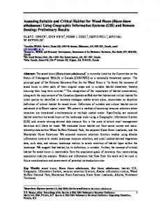 Assessing Suitable and Critical Habitat for Wood Bison (Bison bison ...