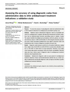 Assessing the accuracy of using diagnostic codes from administrative ...