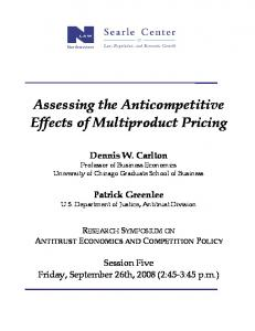 Assessing the Anticompetitive Effects of Multiproduct ...