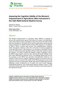 Assessing the Cognitive Validity of the Women's ...