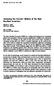 Assessing the Current Validity of the Bem Sex-Role Inventory