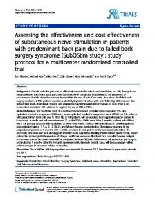 Assessing the effectiveness and cost effectiveness of subcutaneous ...