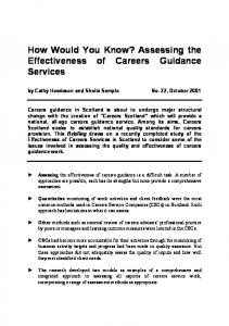 Assessing the Effectiveness of Careers Guidance Services