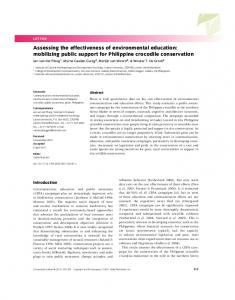 Assessing the effectiveness of environmental ... - Wiley Online Library