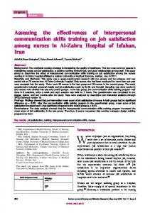 Assessing the effectiveness of interpersonal communication skills ...