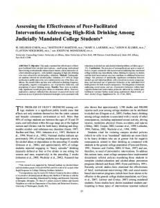 Assessing the Effectiveness of Peer-Facilitated Interventions ...