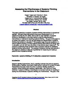 Assessing the Effectiveness of Systems Thinking Interventions in the ...
