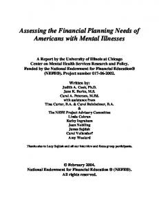 Assessing the Financial Planning Needs of Americans with Mental ...