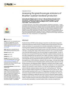 Assessing the greenhouse gas emissions of Brazilian soybean ... - PLOS