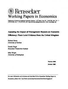 Assessing the Impact of Management Buyouts on Economic Efficiency ...