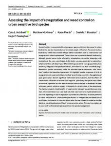 Assessing the impact of revegetation and weed ... - Wiley Online Library