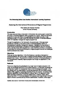 Assessing the International Dimensions of Degree Programmes
