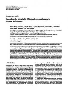 Assessing the Metabolic Effects of Aromatherapy in Human Volunteers