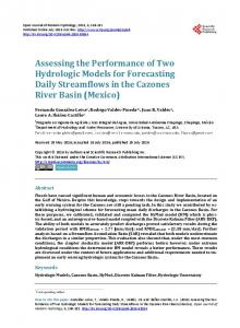 Assessing the Performance of Two Hydrologic Models for Forecasting ...