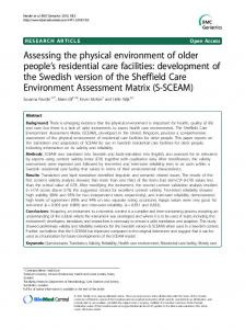 Assessing the physical environment of older people's ... - BMC Geriatrics