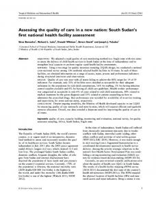 Assessing the quality of care in a new nation: South