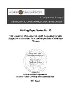 Assessing the Quality of Democracy in South Korea and Taiwan: