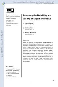 Assessing the Reliability and Validity of Expert Interviews